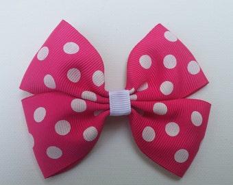 Hot Pink Polka dot Hairbow