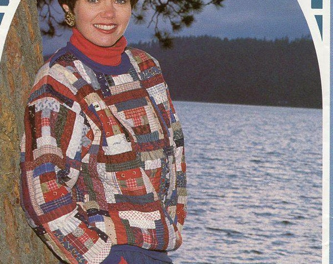 FREE US SHIP Back Porch Press Quilt Log Cabin Pullover Size 6-22 Gaile E Abeloe Craft Sewing Pattern