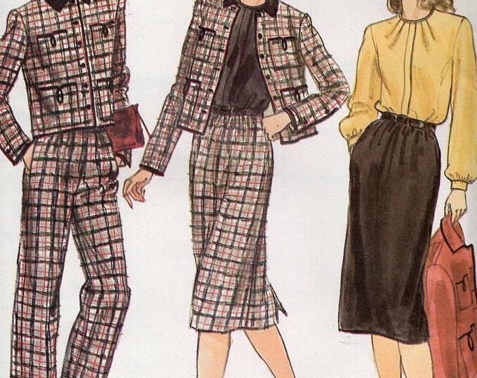 Free Us Ship Sewing Pattern Vogue 7810 Vintage Retro 1970s 70s  Suit Jacket Skirt Pants Pantsuit Tuck Blouse Uncut Size 8 Bust 31.5