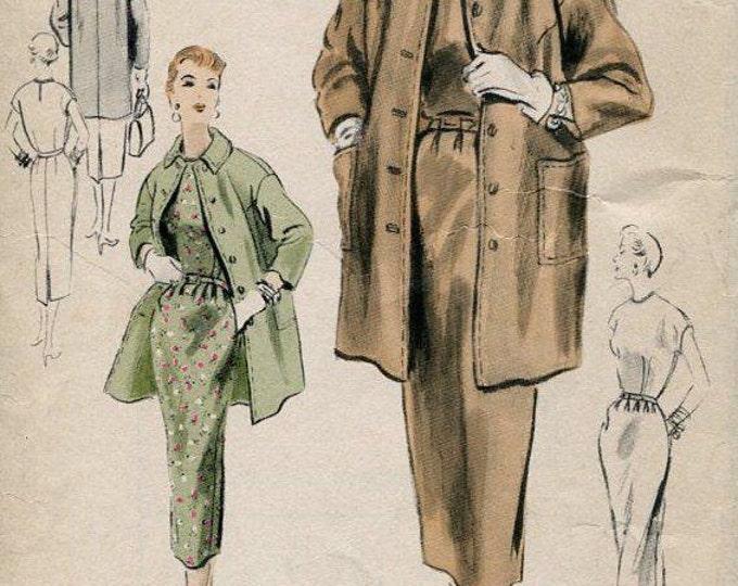 FREE US SHIP Original Vogue 4468 Vintage Retro 1950s 50s 1953 Unused Special Design Dress Coat Ensemble Bust 30 * Sewing Pattern