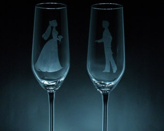 Bride and Groom champagne flute