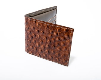 Ostrich Embossed Leather Wallet in Cognac