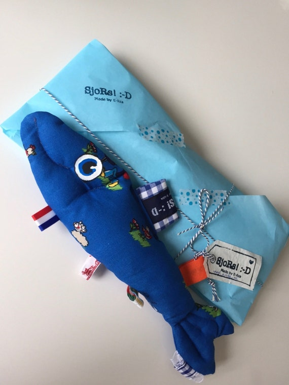 Sale -10% The Dutch Herring Blue farmer tag sensory toy, stuffed toy fish with Holland themed ribbons and a crinkle fin. A great baby gift.