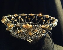 Miniature black and gold  crown, medieval style, crown fascinator, wedding accessory