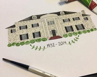 Sorority House Watercolor Print