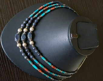 Exotic TURQUOISE CORAL LAPIS Lazuli Silver Necklace