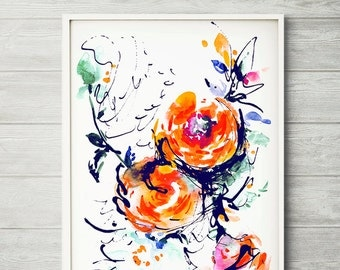 Bright watercolor flower painting abstract by lesiabinkinart for Bright flower painting