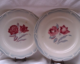 4 French Shabby Dining Plates, Vintage Pastel Colours, Cottage Red Roses,