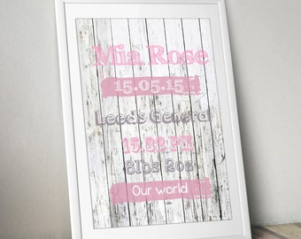 Birth Announcement Print - Wall art - Babies room print - Decor - FRAMED or UNFRAMED