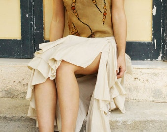 Vintage boho beige asymmetrical layered cotton skirt.size XL