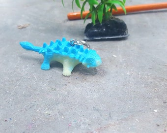 Keychain Dinosaur Blue Ankylosaurus FREE SHIPPING!  Great Stocking Stuffer