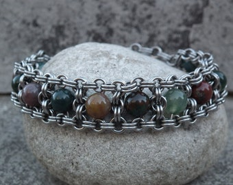 Blood Agate & Stainless Steel Bracelet