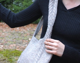 Gray Felted Shoulder Bag