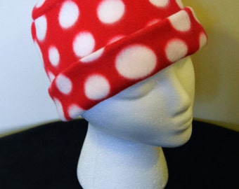 Soft Red with Large White Dots Fleece Hat - MEDIUM Only- PRICE SLASH