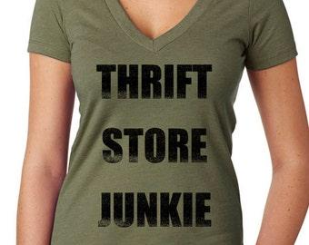 Thirft Store Junkie t-shirt - thrift store t-shirt - shopping t-shirt - flea market t-shirt, antiquing t-shirt, womens t-shirt, graphic tees