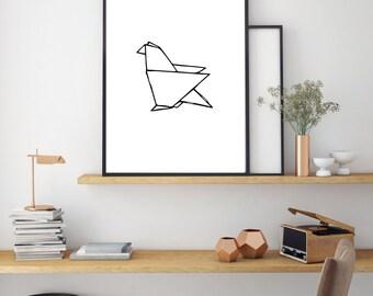 Budgie Print, Geometric Art, Digital Print, Minimal Animal Art, Modern Wall Poster, Abstract Art, Modern Black And White Print