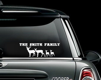 Deer Family Car Decal, Deer Car Decal, Deer Window Decal, Personalized Car Decal, Buck Decal, Fawn Decal, Doe Decal, Vinyl Car Decals