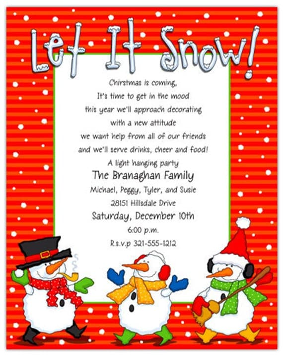 let it snow holiday party invitation family christmas invite