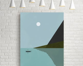 Art prints, minimalist art print, vintage prints, sea print, nautical art print, sea poster, art prints vintage, nautical poster, lake