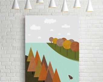 Landscape print, retro art print, autumn print, scandinavian design, foliage, autumn colors, affiche, landscape art, colorful art, autumn
