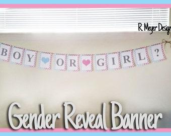 Gender Reveal Banner - Girl or Boy? - Instant Download! - Printable Banner