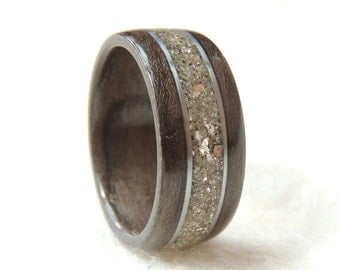 Bentwood Ring, Gray Maple, Stainless Steel & Silver German Glass