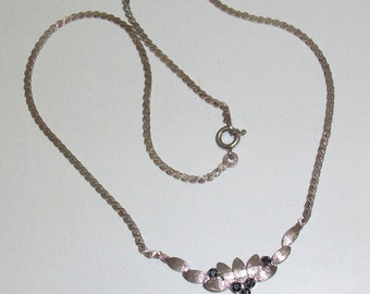 Old antique vintage necklace necklace silver 835 silver necklace with 5 blue sapphires SK517