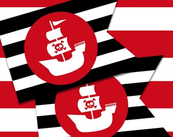 Printable Pirate Party Flags for Kids - Red on Black Stripes