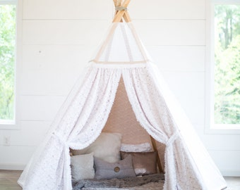 COVER & POSTS - 4FT, 5FT, or 6FT Posts - White Sequin Floral Lace Teepee Cover with Posts, Champagne Matte Satin