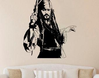 Jack Sparrow Wall Decal Jack Sparrow Vinyl Sticker Pirates Wall Decals Wall Vinyl Decor /3rtg/