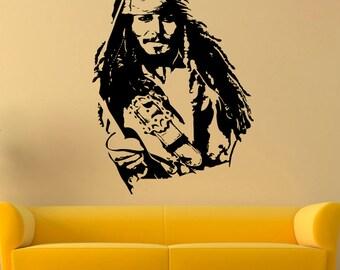 Jack Sparrow Wall Decal Jack Sparrow Vinyl Sticker Pirates Wall Decals Wall Vinyl Decor /5rtg/