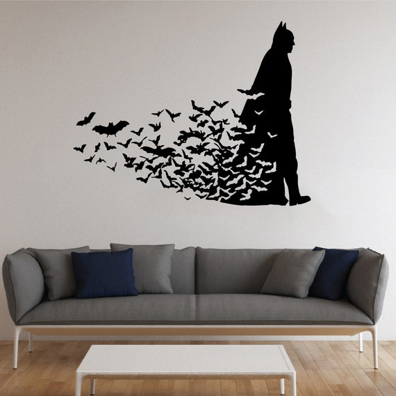 Batman wall sticker dark knight vinyl decal comics wall decals for Batman wall mural decal