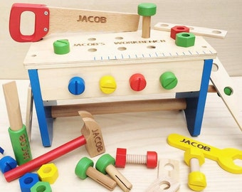 2 in 1 Personalised Tool Box and Workbench wooden Toy, gift for him, gift for her