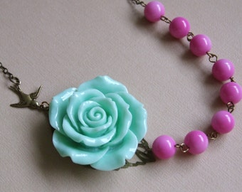 Mint Green Rose Necklace, Statement Necklace, Pink Green Romantic Necklace, Bridesmaid Jewelry