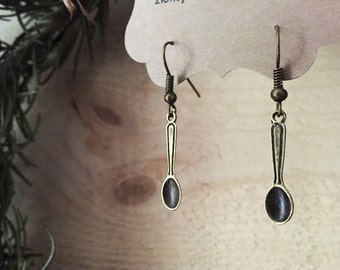 Spoon Earrings Antique Bronze