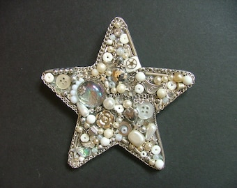 White and Silver Star, Jewellery Collage, Handmade Gift