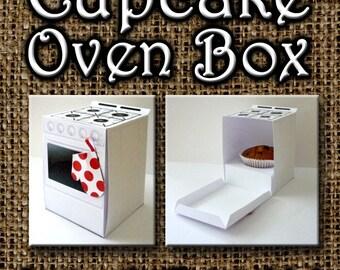 Cupcake Oven Box, instant digital dowload printable,