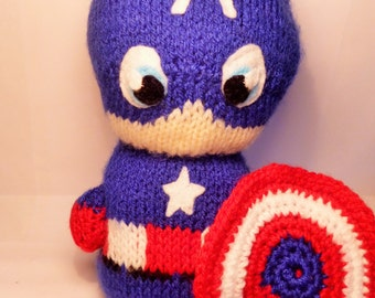 Captain America style Hand Knitted Plush Toy, unofficial product inspired by Marvel, *FREE UK SHIPPING*