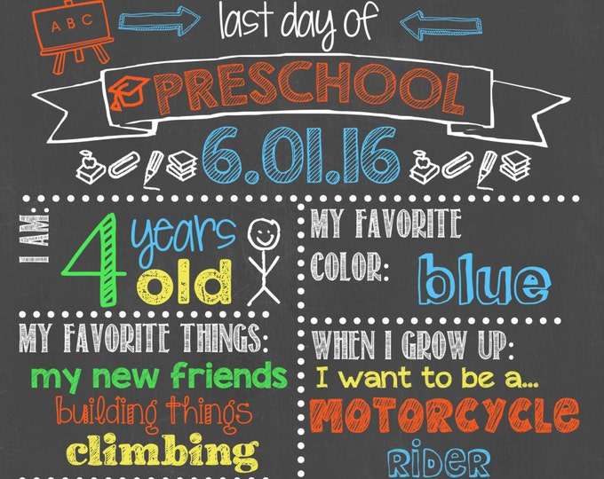 Last Day of Preschool Chalkboard / Last Day Chalkboard Sign /Last Day of School Sign /Last Day of Preschool Chalkboard Sign / Digital File