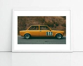 Yellow Car, Retro Photography, City Photography Printable Art, Office Art