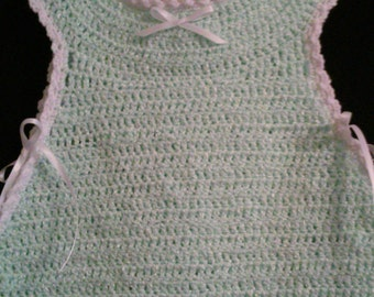 Mint Green Baby Sundress, Sundress, Baby Outfit, Infant Dress, Baby Dress, Baby Attire, Crochet Baby Dress