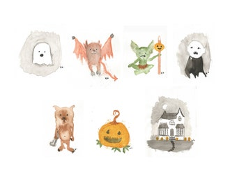 Drawlloween Collection Series One- 8x10 Halloween watercolor digital print