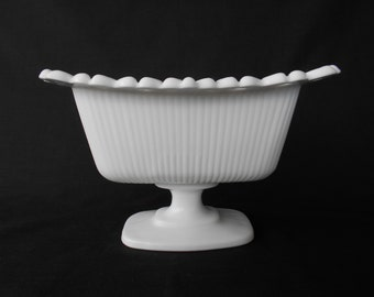 Vintage Scalloped Pedestal Milk Glass Vase / Trough  #00054