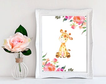 Nursery Wall Art Animals, Giraffe Nursery Art, Baby Girl Nursery Decor, Girl Nursery Decor, Safari Nursery Decor, Printable Nursery Art