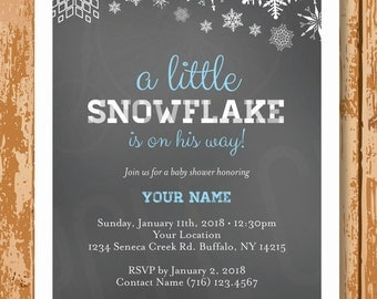 Snowflake Baby Shower Invitation, Winter Baby Shower Invite, Boy or Girl Snowflake Baby Shower Invite, Customized, Printable