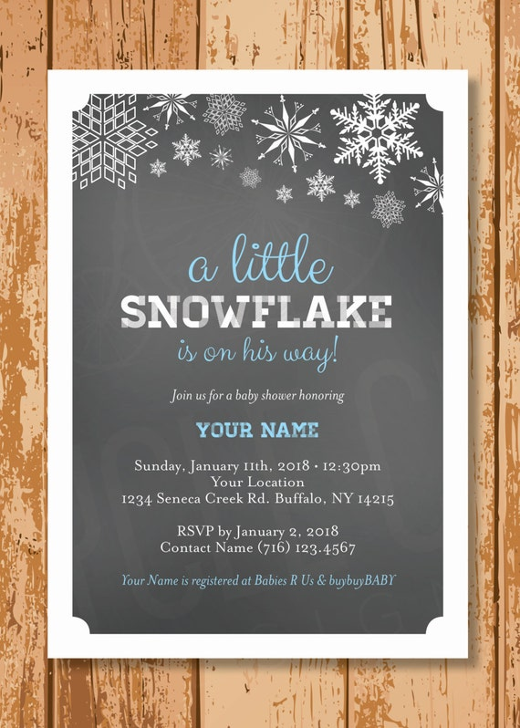 snowflake baby shower invitation winter baby shower invite boy or
