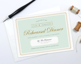 Wedding Rehearsal Dinner Invitations, Rehearsal Dinner Invites, Mint, Gold, Wedding Stationary