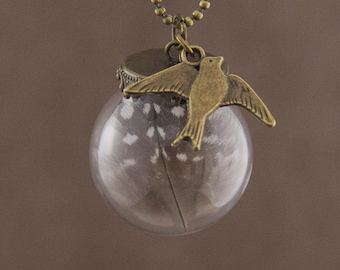 "Glass Globe Necklace ""Avila"" with Real Feather"