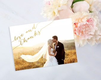 Printable Photo Thank You Card, Gold Foil Calligraphy Wedding