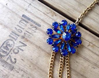 Vintage Gold Necklace ||| Blue Brooch Necklace ||| Blue Multi-Strand Necklace ||| Asymmetrical Necklace ||| Blue Retro Necklace ||| Boho
